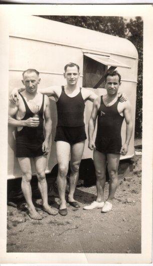 Arthur à la plage, bord du Lac Michigan, Détroit, 1945