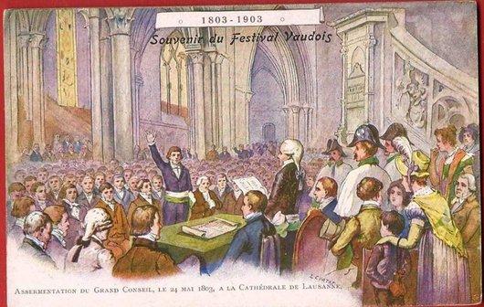 Assermentation du Grand Conseil vaudois dans la Cathédrale