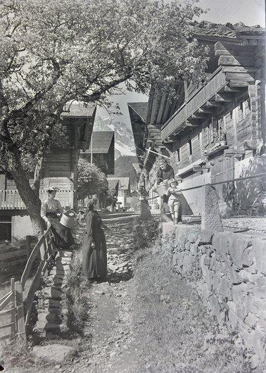 Scène rurale à Champéry