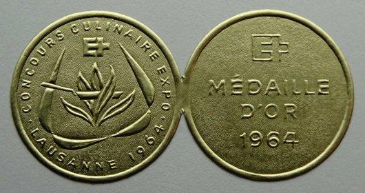 Médaille d'or concours culinaire expo 1964 Lausanne