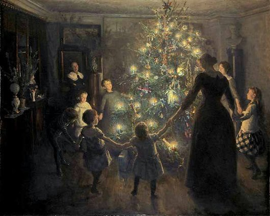 Famille autour du sapin de Noël