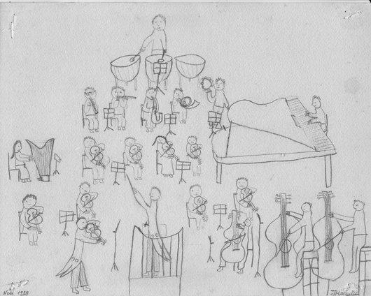 Un enfant dessine l'OCL et Victor Desarzens