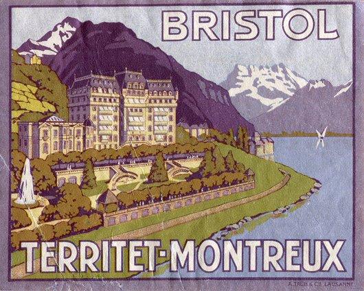 Étiquette de bagage de l'hôtel Bristol à Montreux