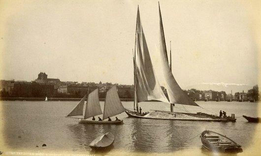 Genève Rade barque à voile latine