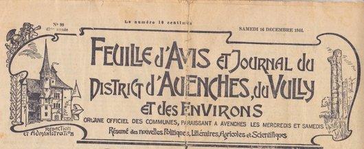 Feuille d'Avis et Journal du District d'Avenches, du Vully et des Environs.