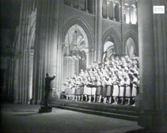 Johann Sebastian BACH, Motet «Singet dem Herrn ein neues Lied» (Chantez à Yahvé un chant nouveau), Motet pour double choeur, BWV 225, Bach par le CHOEUR DE L'UNIVERSITÉ DE LAUSANNE et Michel CORBOZ, Cathédrale de Lausanne, RTS, 25 mai 1966, cliquer pour une vue agrandie
