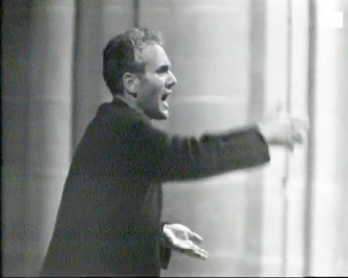 Michel Corboz en pleine action, Bach par le CHOEUR DE L'UNIVERSITÉ DE LAUSANNE et Michel CORBOZ, Cathédrale de Lausanne, RTS, 25 mai 1966, cliquer pour une vue agrandie