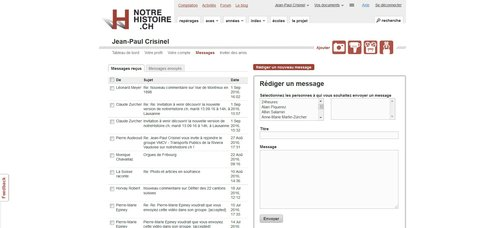 """Notre Histoire ancien site Internet, page """"Messagerie"""""""