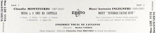 Claudio MONTEVERDI, Messa a 4 voci da capella, Ensemble Vocal de Lausanne, Michel CORBOZ, 28-30.10.1964, Erato STE 50938