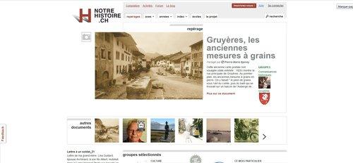"""Notre Histoire ancien site Internet, haut de la page """"Consultation"""""""
