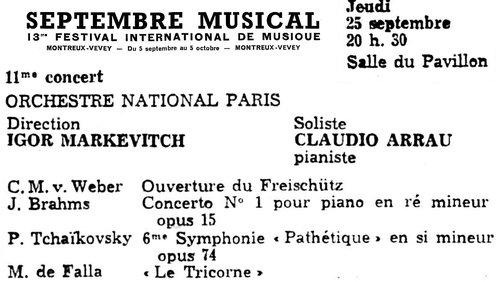 Johannes BRAHMS, Concerto pour piano No 1, Claudio Arrau, ONRDF, Igor Markevitch, 25 septembre 1958, Montreux