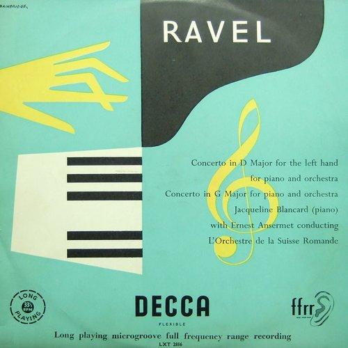 Maurice RAVEL, Concerto pour la main gauche M 82, Jacqueline BLANCARD, OSR, Ernest ANSERMET, 1953