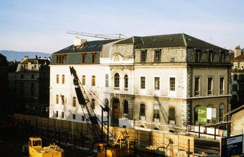 Genève, chantier de l'annexe du Collège Calvin