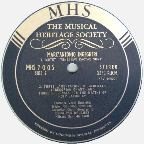 Claudio MONTEVERDI, Messa a 4 voci da capella, Ensemble Vocal de Lausanne, Michel CORBOZ, 28-30.10.1964, MHS 700, Étiquette verso du disque