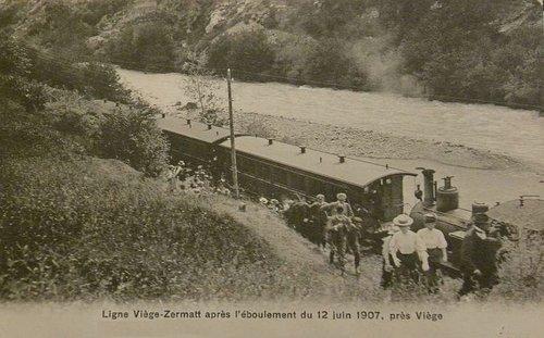 Ligne Viège-Zermatt après l'éboulement