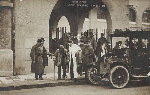 Genève passage des évacués Français