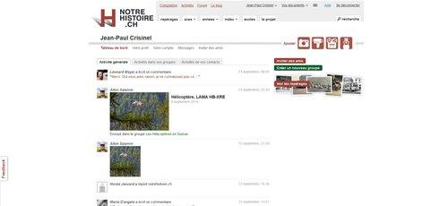 """Notre Histoire ancien site Internet, page """"Tableau de Bord"""""""