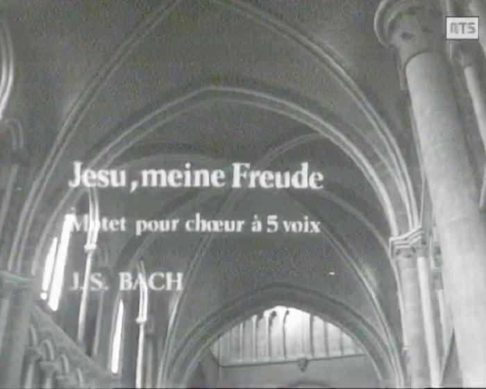 BWV 227, Bach par le CHOEUR DE L'UNIVERSITÉ DE LAUSANNE et Michel CORBOZ, Cathédrale de Lausanne, RTS, 25 mai 1966, cliquer pour une vue agrandie