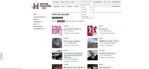 """Notre Histoire ancien site Internet, page """"Tableau de Bord Selections"""""""