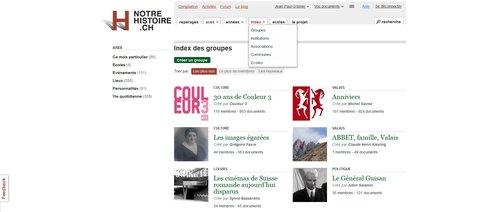 """Notre Histoire ancien site Internet, page """"Index"""""""