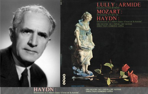 Joseph HAYDN, Divertimento en si bémol majeur, Hob II:46, dit «du choral de Saint-Antoine», Orchestre de l'Opéra de Vienne, Edmond APPIA, enregistré entre 1958 et 1960